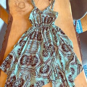 H&M BLUE HANKERCHIEF DRESS SIZE 4